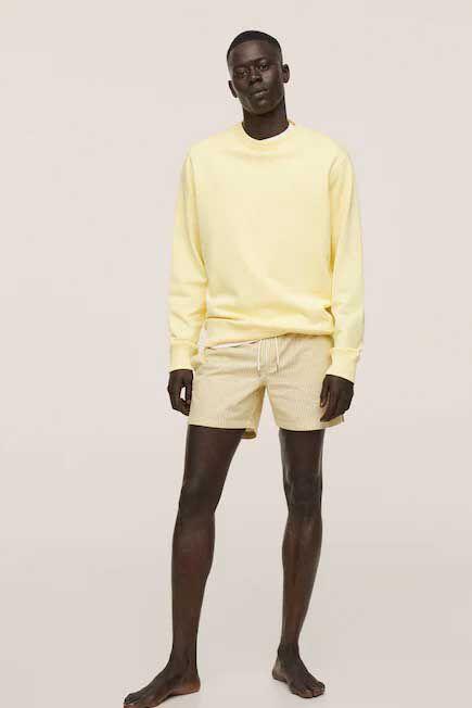Mango - yellow Seersucker swimming trunks, Men