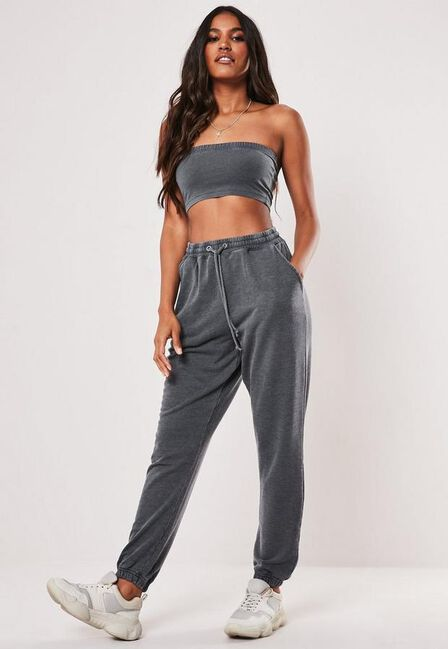 Missguided - Grey Grey Washed Oversized 90S Joggers