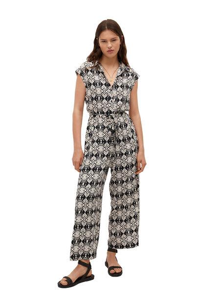 Mango - Black Cotton Print Jumpsuit, Women