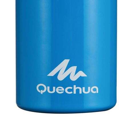 QUECHUA - Hiking water bottle 900 with snap-on lid w. integral straw 0.6 l -blue aluminium