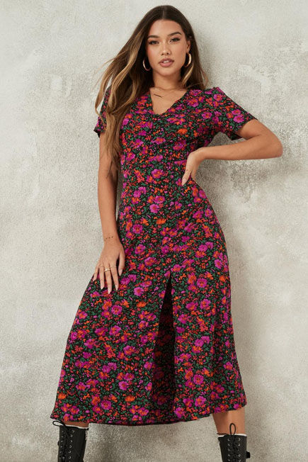 Missguided - Black Floral Half Button Midi Tea Dress