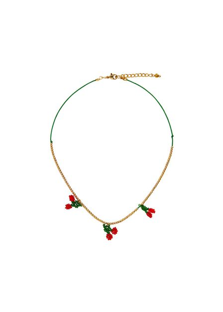 Mango - Gold Beaded Cord Necklace, Kids Girl