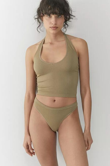 Urban Outfitters - Khaki Out From Under Cindy Solid Thong, Women