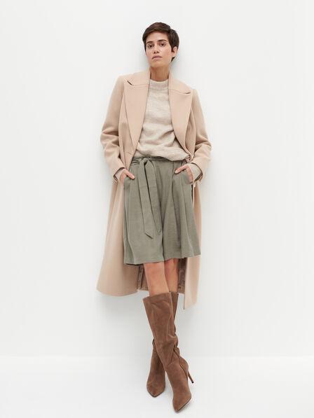 Reserved - Wide leg Bermuda shorts - Khaki