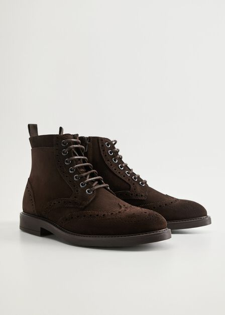 Mango - brown Stitching suede boots