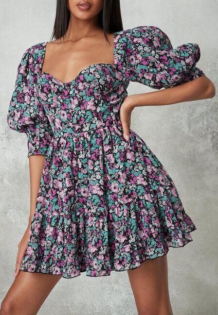 Missguided - Purple Floral Print Puff Sleeve Milkmaid Dress