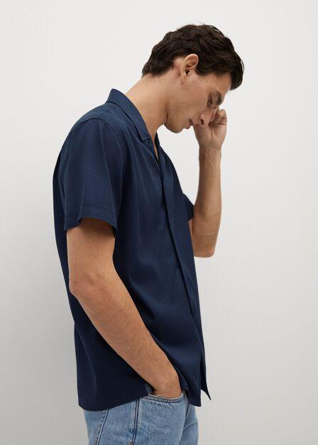 Mango - navy Regular-fit lyocell cotton shirt