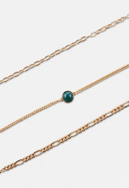 Missguided - Gold Look Green Stone Mix Chain Bracelet 3 Pack