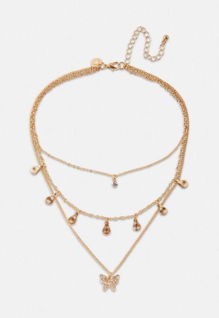 Missguided - Gold Gold Look Pave Butterfly Drop Multirow Necklace