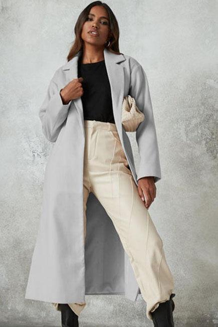 Missguided - Grey Side Split Formal Midaxi Coat