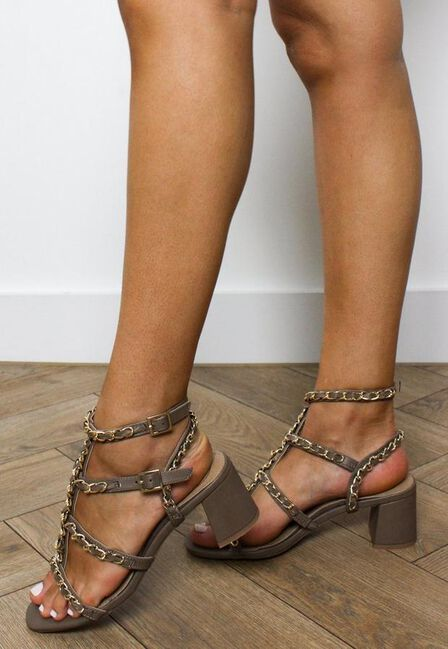 Missguided - Stone Taupe Chain Gladiator Block Heel Sandals