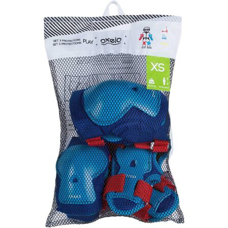 OXELO - Play kids' inline skate skateboard and scooter protectors set of 3 - blue/red
