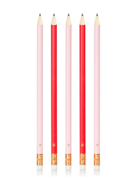 SKINNY DIP - Skinny Dip Pencil Pack Pink/Red [Set of 5 with Eraser]
