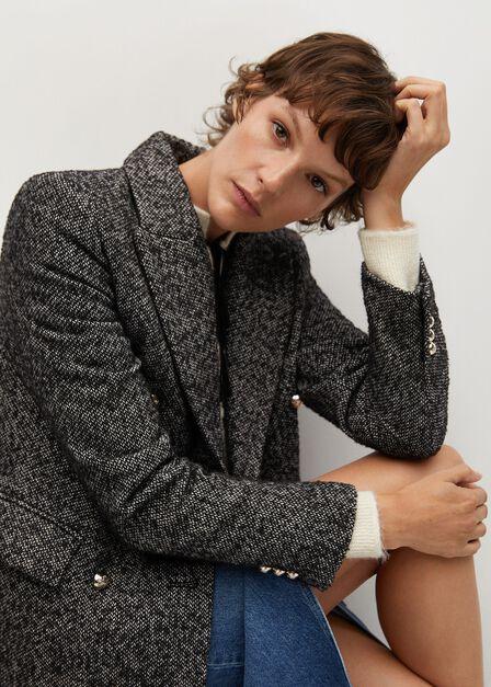 Mango - grey Textured wrap coat
