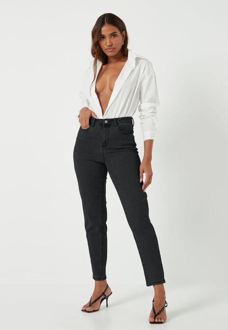 Missguided - Black Black Comfort Stretch Mom Jeans