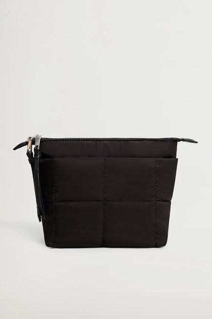 Mango - Black Quilted Cosmetic Bag