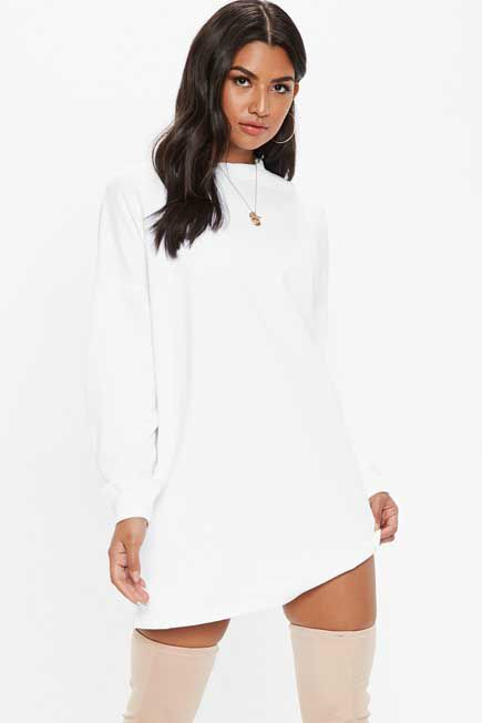 Missguided - White Oversized Basic Loopback Sweater Dress