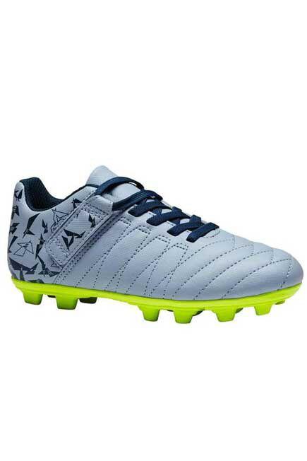 KIPSTA - Agility 140 fg kids' dry pitch rip-tab football boots - grey/yellow