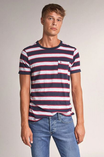 Salsa Jeans - Blue Striped t-shirt with pocket