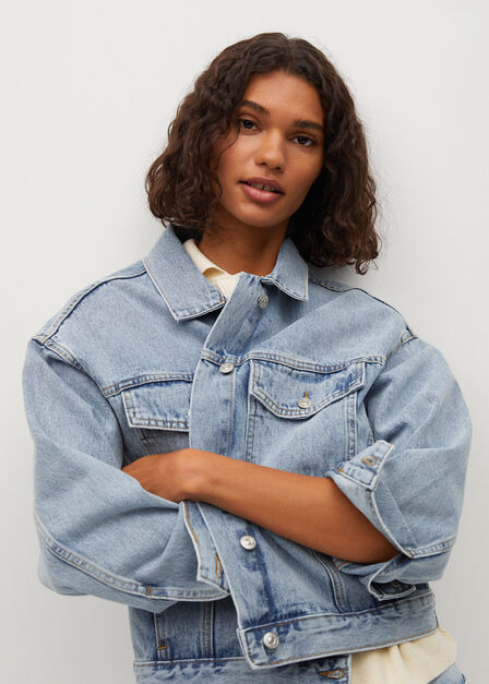 Mango - open blue Denim oversized jacket