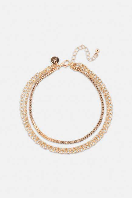 Missguided - Gold Look 3 Chain Anklet, Women