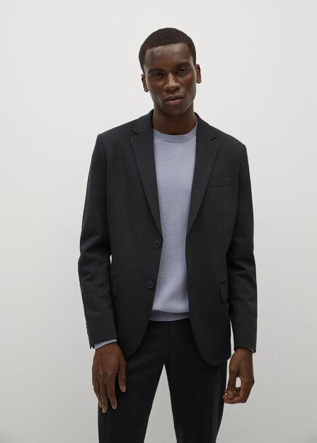 Mango - navy Slim-fit cotton suit jacket, Men