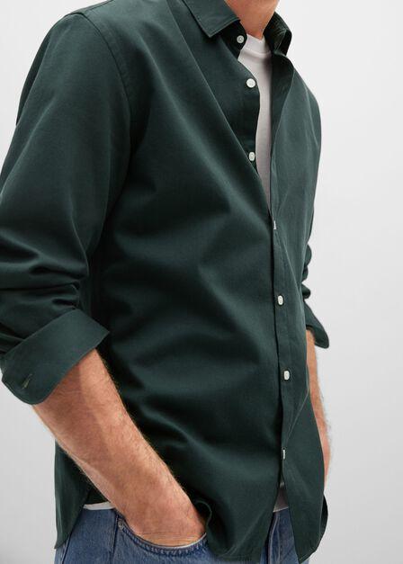 Mango - beige - khaki Slim fit structured cotton shirt