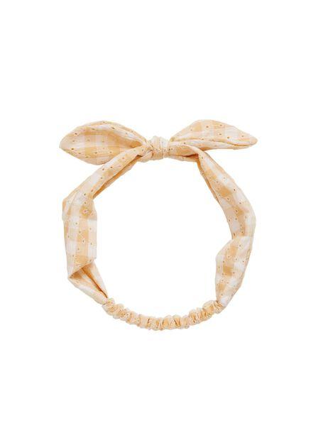 Mango - light beige Bow printed hairband, Kids Girl