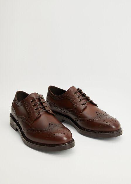 Mango - Medium Brown Laser-Cut Leather Blucher Shoes