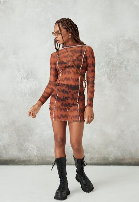 Missguided - Brown Overlock Detail Mesh Mini Dress