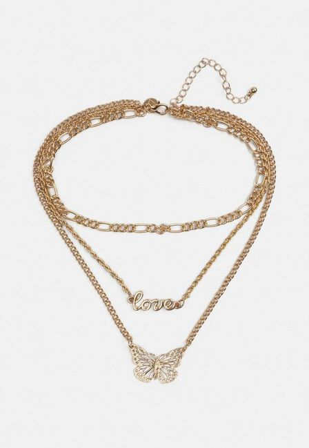 Missguided - Gold Filigree Butterfly Layered Necklace