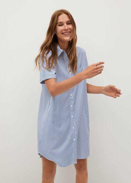 Mango - lt-pastel blue Striped shirt dress
