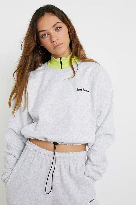 Urban Outfitters - L GR iets frans... Bubble Hem Crew Neck Candy Pink  Swe