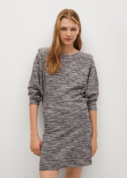 Mango - Black Textured Cotton Dress