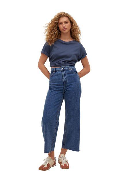 Mango - Open Blue Frayed Hem Culotte Jeans, Women