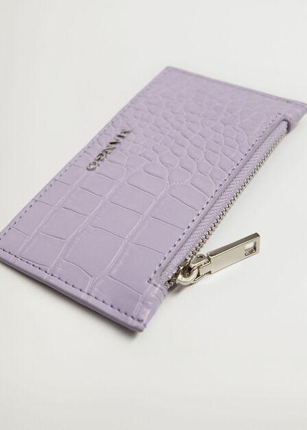 Mango - lt-pastel purple Croc-effect card holder