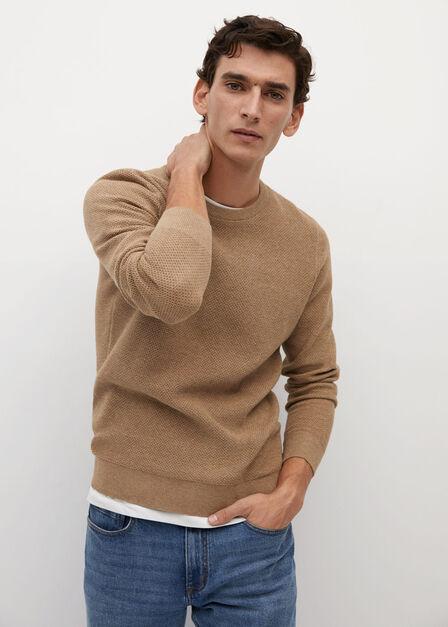Mango - light beige Structured cotton sweater