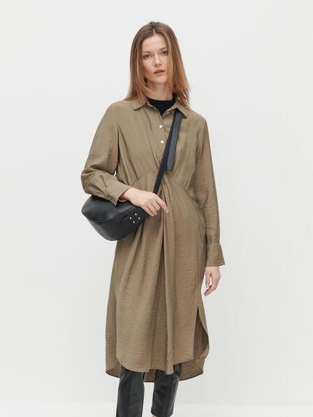Reserved - EcoVero rich shirt dress - Khaki