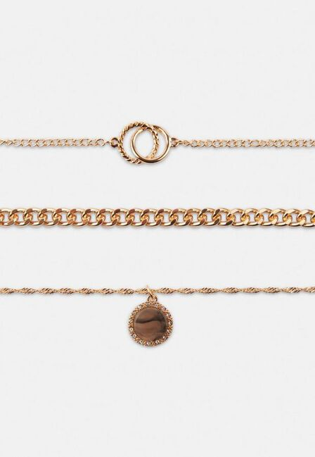 Missguided - Gold Look Multi Row Resin Drop Necklace, Women