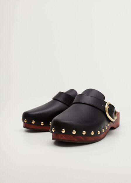 Mango - black Studded leather clog, Women