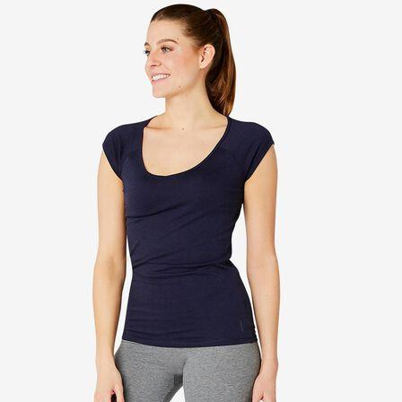 NYAMBA - Small  Women's Slim T-Shirt 500, Navy Blue