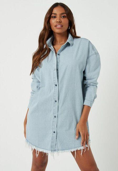 Missguided - Blue Stonewash Oversized Denim Shirt Dress