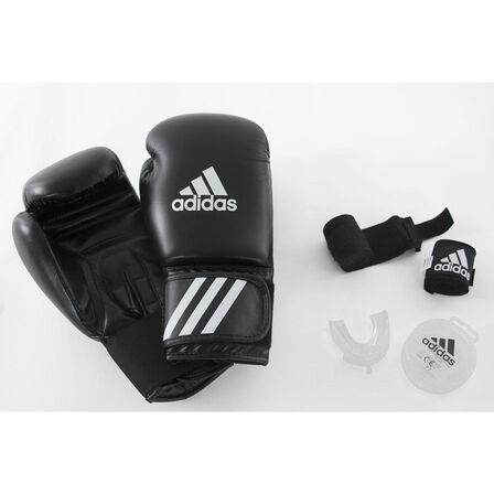 ADIDAS - 14 Oz Beginners' Boxing Kit: Gloves - Wraps - Mouthguard - Black