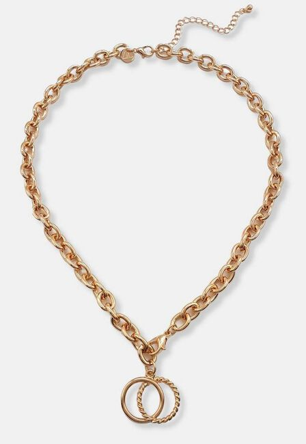 Missguided - Gold Gold Look Double Link Lobster Chain Necklace