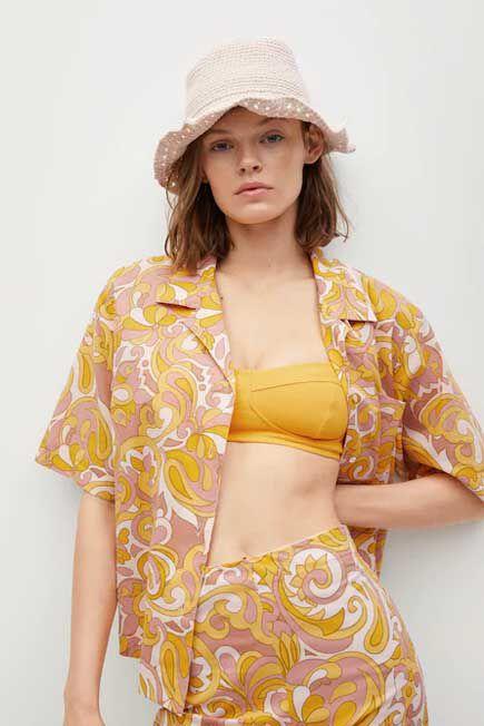 Mango - Yellow Printed Cotton Shirt, Women