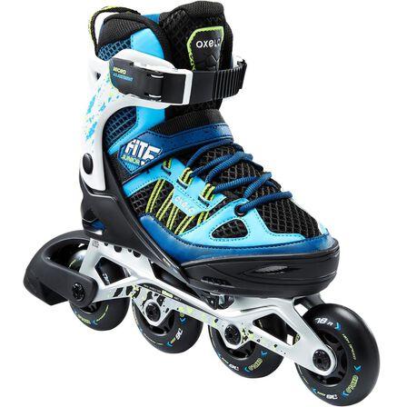 OXELO - EU 38-41  Fit 5 Kids' Inline Fitness Skates, Petrol Blue