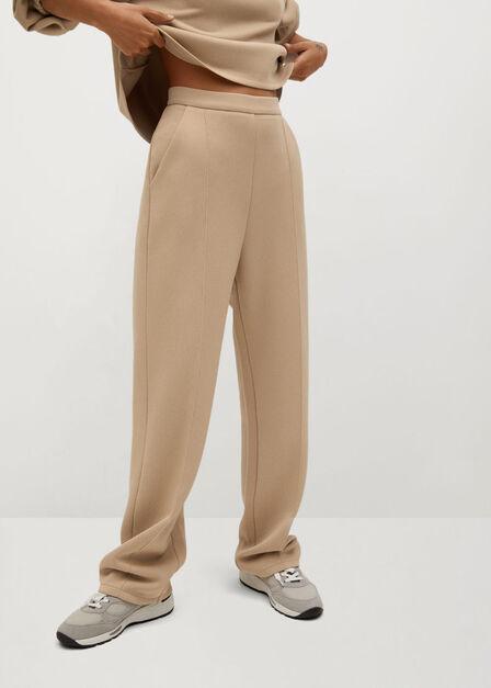 Mango - light beige Pleat straight trousers