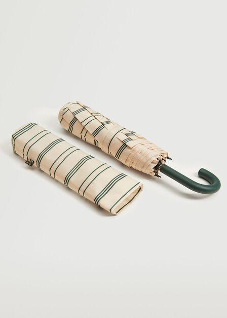 Mango - green Striped folding umbrella, Women