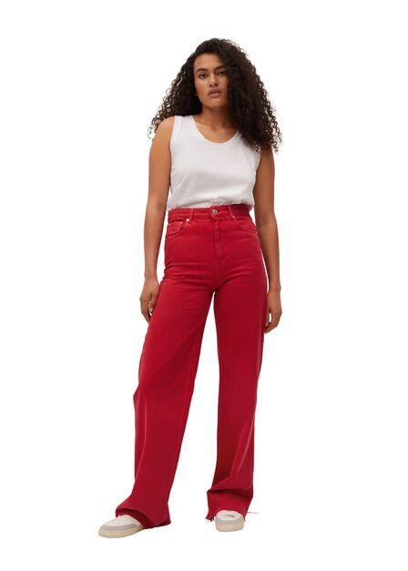 Mango - red Wide leg high waist jeans, Women