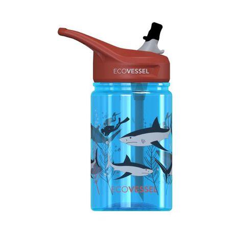 ECO VESSEL - EcoVessel Shark Splash Kids Water Bottle With Flip Straw 350 ml
